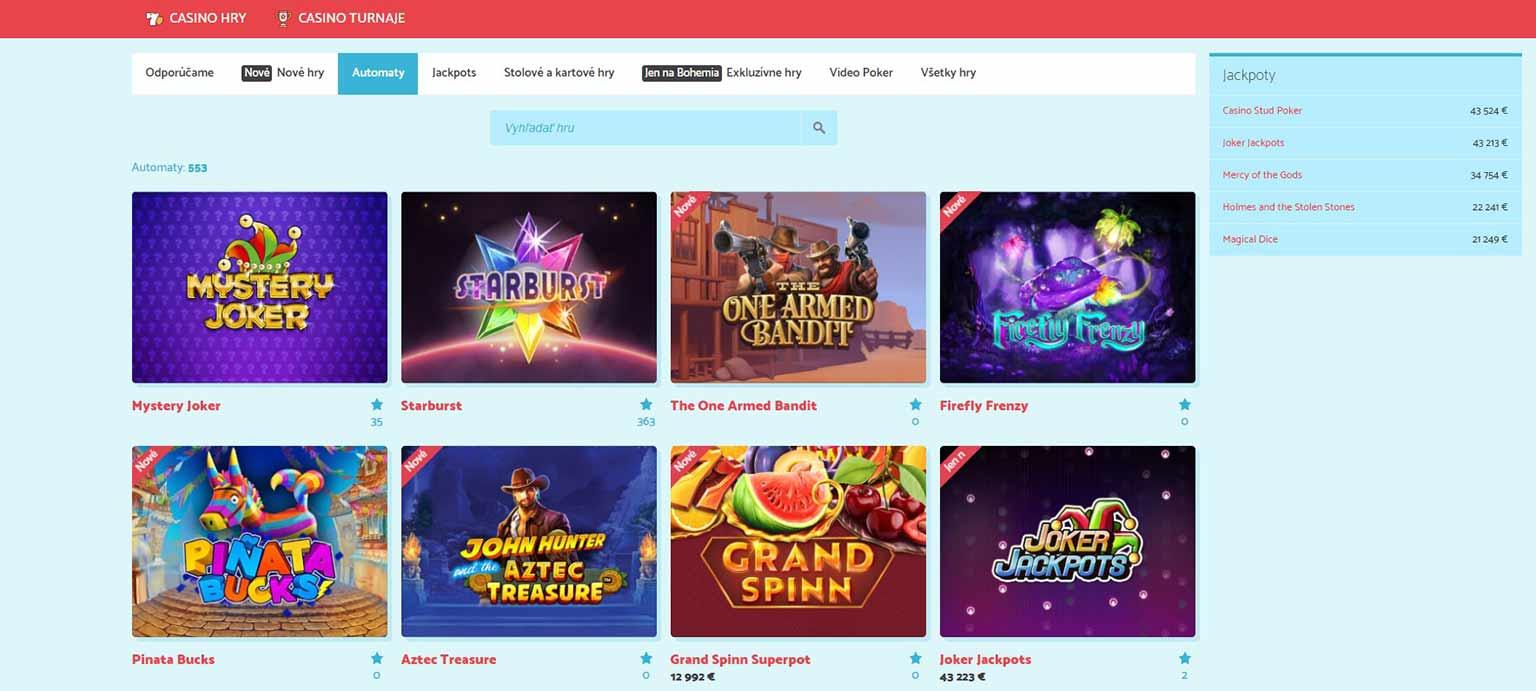 Bohemia Casino Spiele