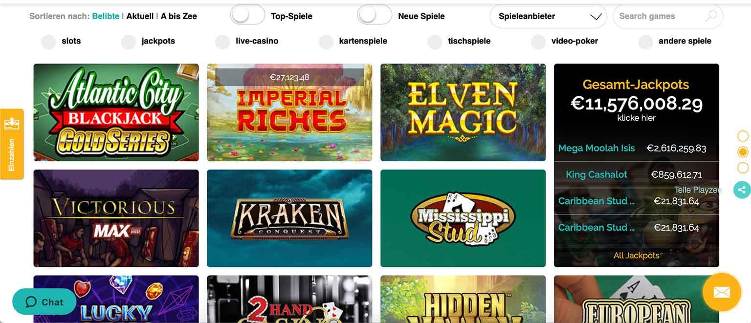 Spiele im Playzee Casino