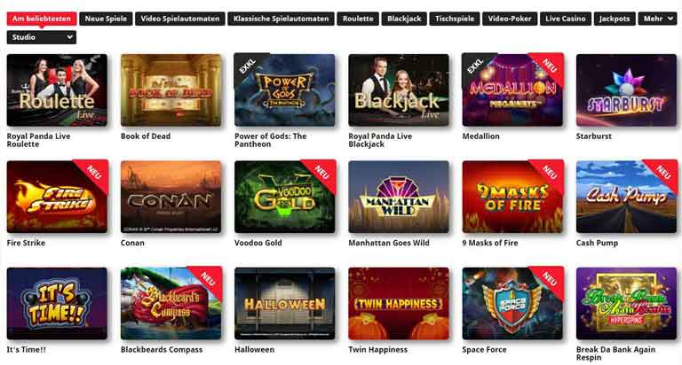 Spieleauswahl im Royal Panda Casino
