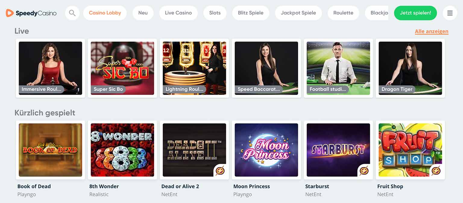 Spielauswahl im Speedy Casino