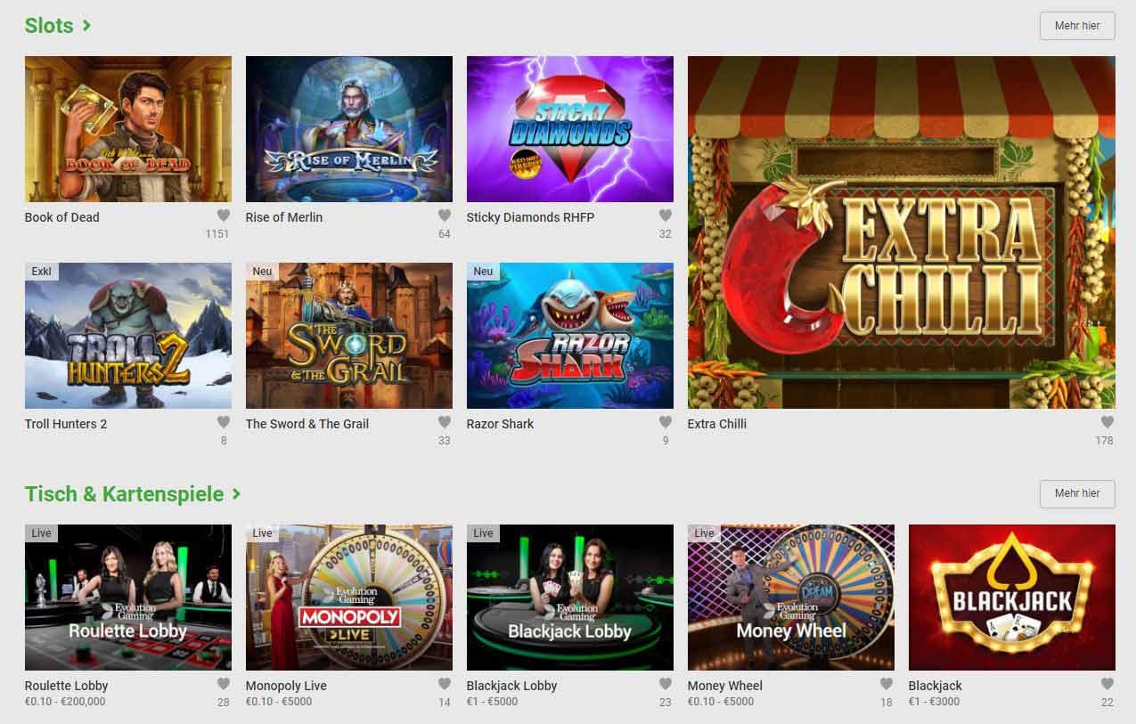 Spiele im Unibet Casino