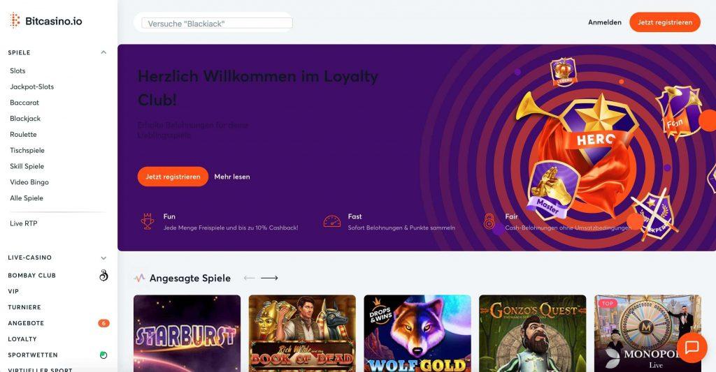 Bitcasino.io Homepage