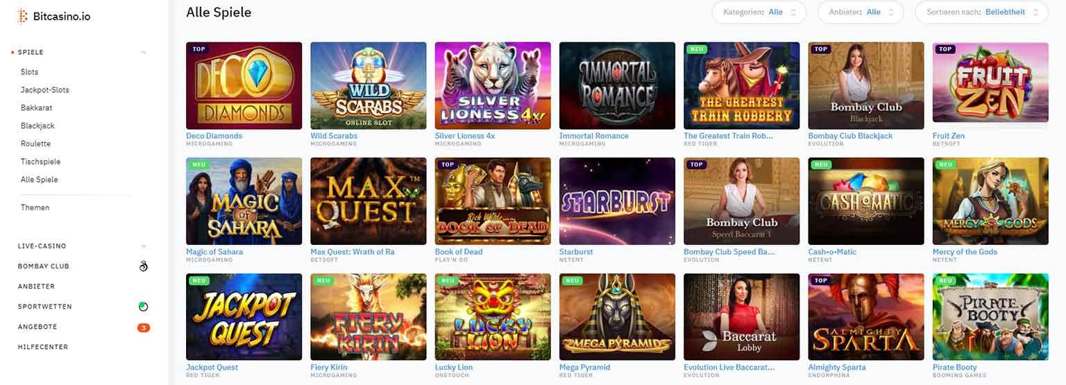 Bitcasino.io Casino Spiele