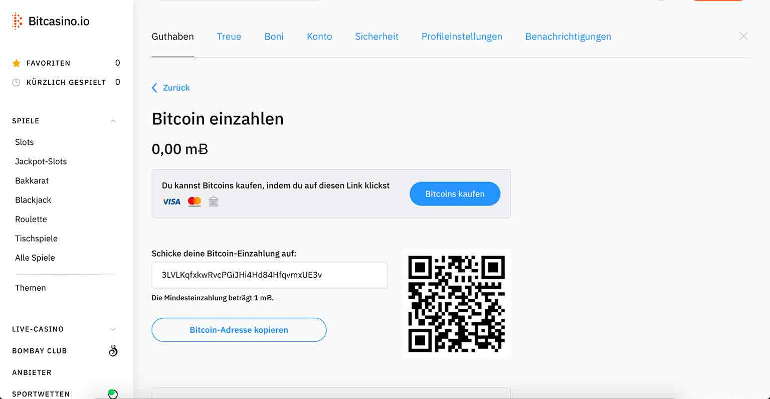 Bitcasino.io Zahlungsmethoden