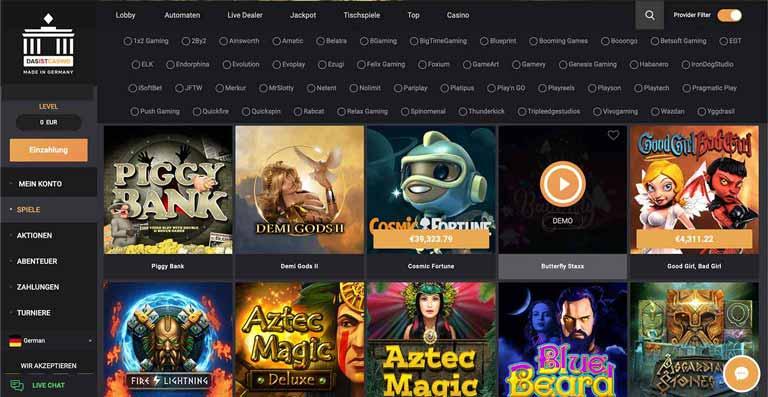 Darstellung der Das Ist Casino Spiele