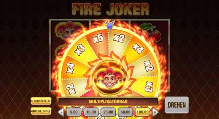 Multiplikator Rad Fire Joker Slot