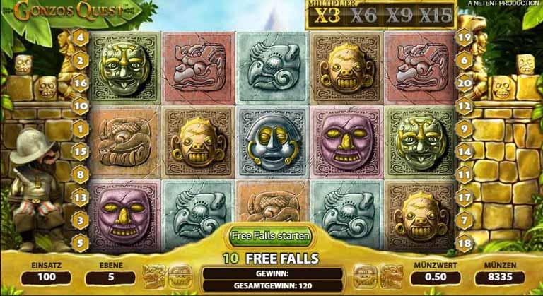 Free Falls beim Gonzos Quest Slot