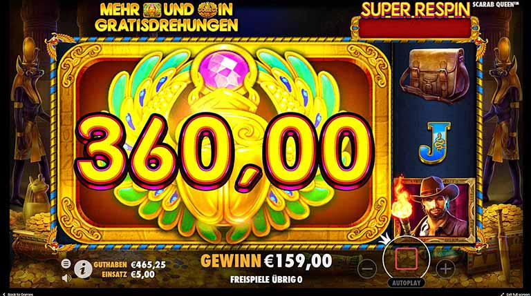 john hunter scarab queen slot re-spin feature