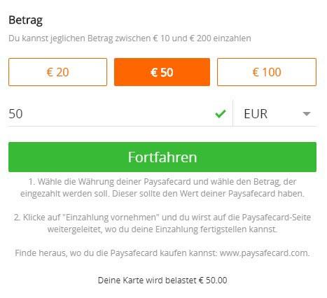 Wert der Paysafecard auswählen