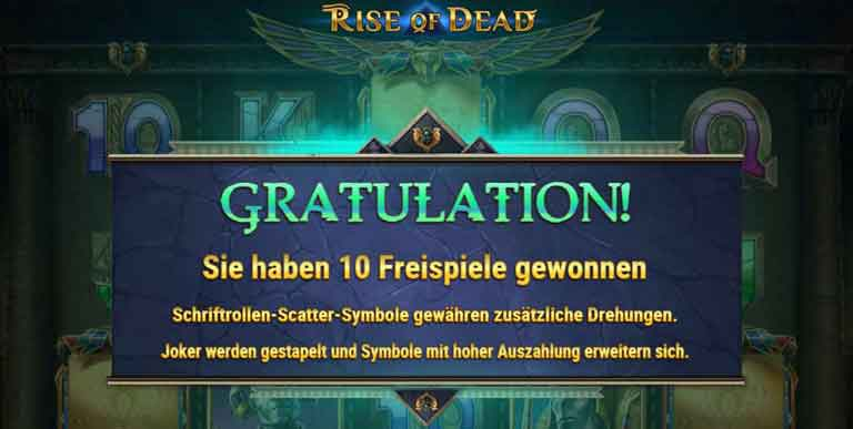 Free Spins Feature vom Rise of Dead Slot