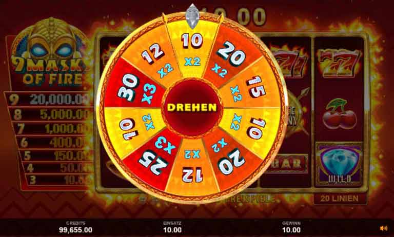 Free Spins Feature 9 Masks of Fire Slot