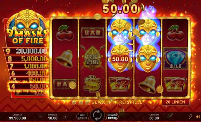 Wild-Symbol 9 Masks of Fire Slot