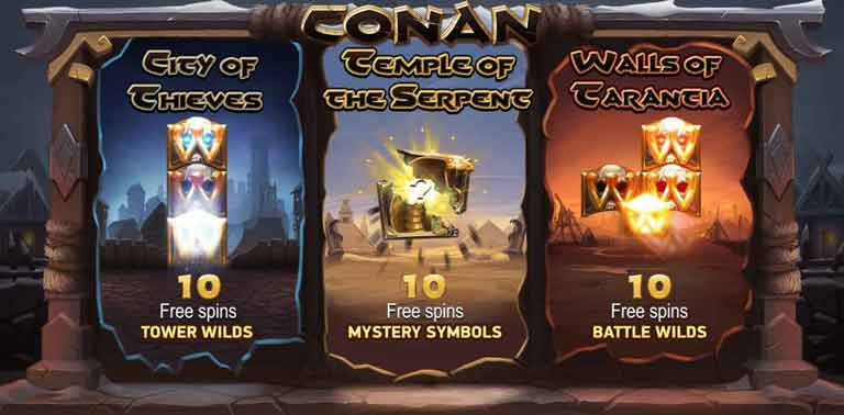 conan slot free spins feature