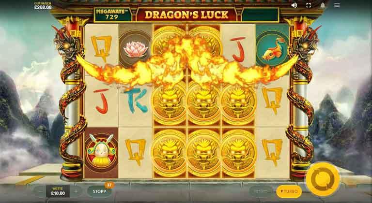 Drachen Feature vom Dragons Luck Megaways Slot