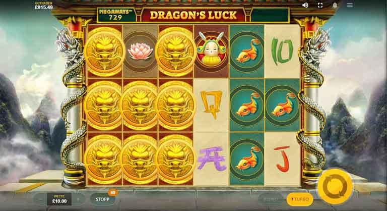 Drachen Muenze vom Dragons Luck Megaways Slot