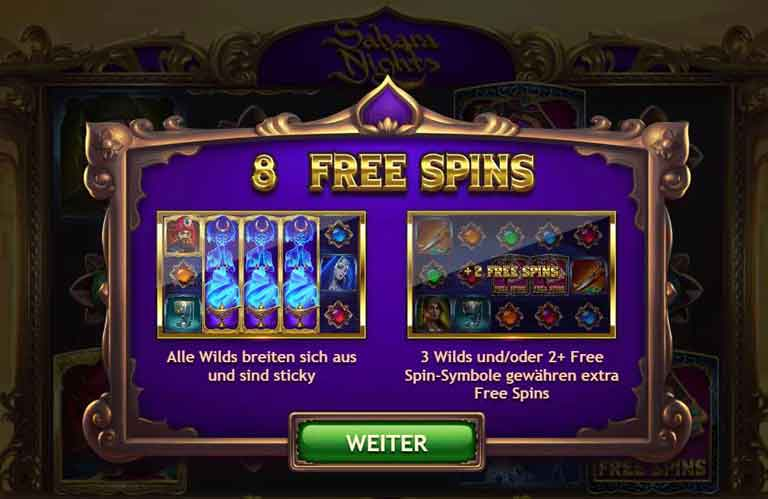 sahara nights slot free spins feature