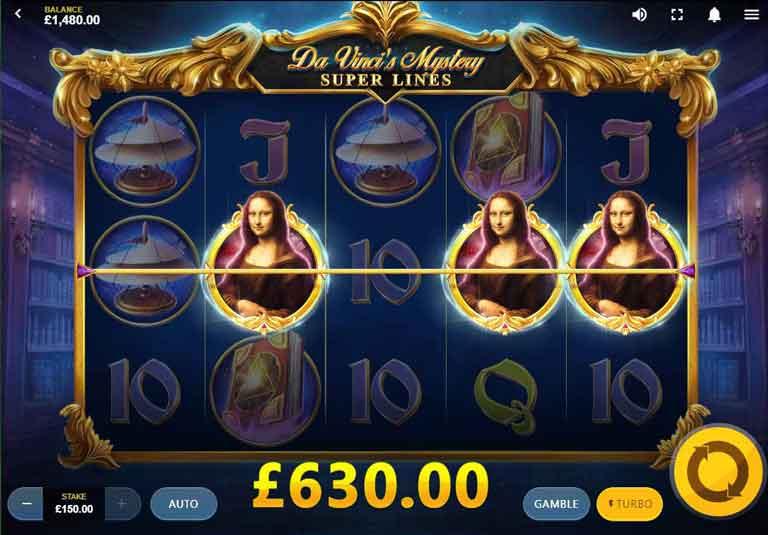 Da Vincis Mystery Super Lines Slot Feature