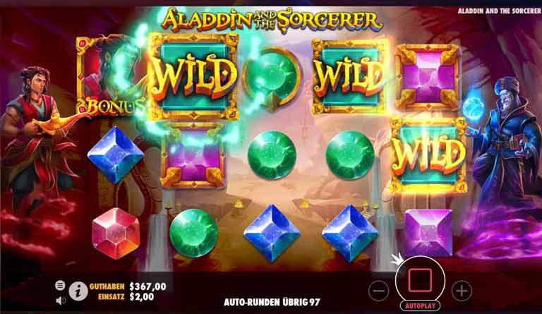 Wild-Symbole Aladdin and the Sorcerer Slot
