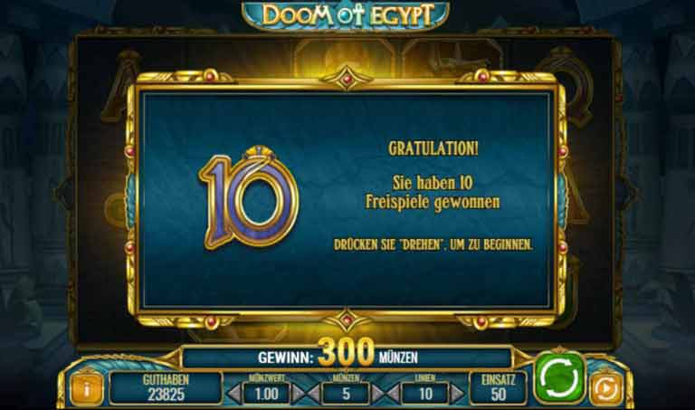 Free Spins Feature Doom of Egypt Slot