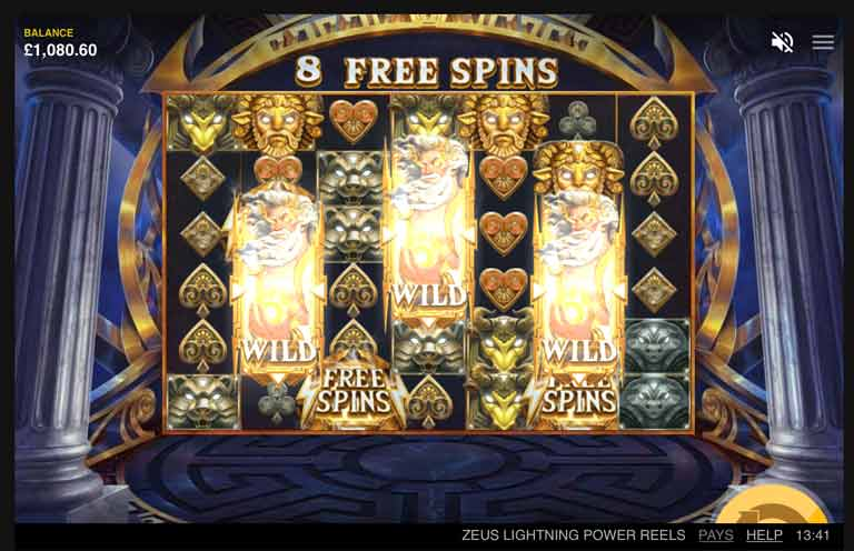zeus lightning power reels slot free spins feature