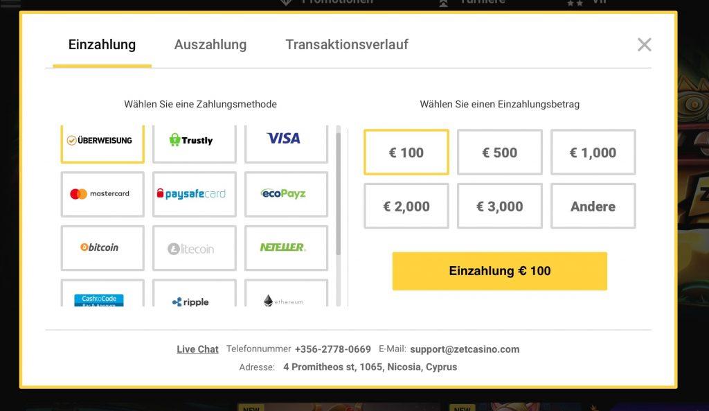 ZetCasino Zahlungsanbieter